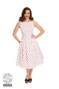 Cindy prickig dress - cindy prickig vit/röd stl 2XL