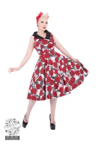 Red Rose Swing dress - red rose dress stl XS