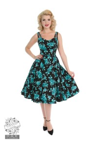Rosaceae swing dress - rosaceae blk/turkos dress stl XS