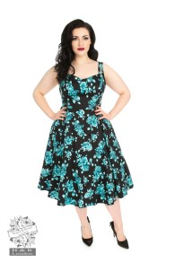 Rosaceae swing dress - rosaceae blk/turkos dress stl 2XL