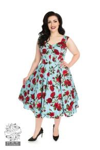 Ditsy 50`s rose floral dress - Ditsy blå stl 2XL