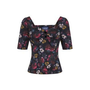 Dolores Midnight floral top - dolores midnight floral top. stl 2XL