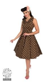 prickig klänning med krage - brun mvita prickar krage stl XS