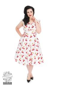 Sweet cherries swing dress - körsbärsklänning vit stl 2XL