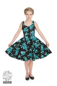 Rosacea Barnklänning - barnklänning turkos/svart stl 3-4