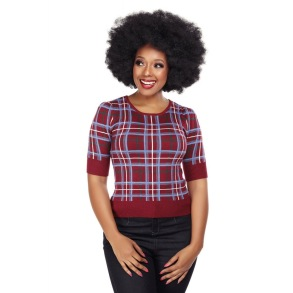 Chrissie Wine check jumper - chrissie wine check stl 2XL