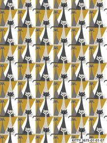 Kitty katt tyg retrostil - kitty tyg stort mönster, gul 1m