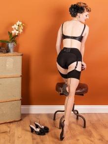 Cuban Heel stocknings - cuban heel strumpor ch/blk stl small- medium