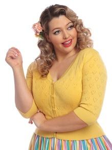 Evie Heart cardigan flera färger - evie heart cardigan gul stl 3XL