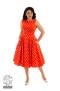 Sandy swing dress - sandy prickigt orange/vit stl 2XL