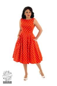 Sandy swing dress - sandy prickigt orange/vit stl XS