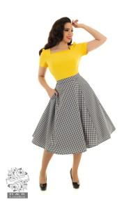 Gloria gingham swing kjol - gloria gingham kjol stl XS
