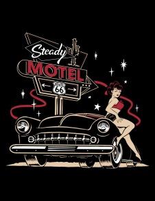 Steady Motel 66 Girls Tee t-shirt - motel 66 s-shirt stl S
