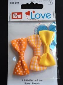 Prym Love 3-p rosetter, välj färg - Rosetter 3-p gula