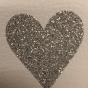 Lappar med vinyltryck för dekoration, välj färg - Vit lapp, silverglitter hjärta