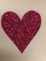 Lappar med vinyltryck för dekoration, välj färg - Vit lapp,rosaglitter hjärta