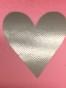 Lappar med vinyltryck för dekoration, välj färg - Rosa lapp, silver hjärta