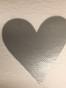 Lappar med vinyltryck för dekoration, välj färg - Vit lapp, silver hjärta