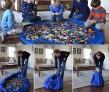 Lekmatta som enkelt dras ihop  - Blå lekplatssförvaring