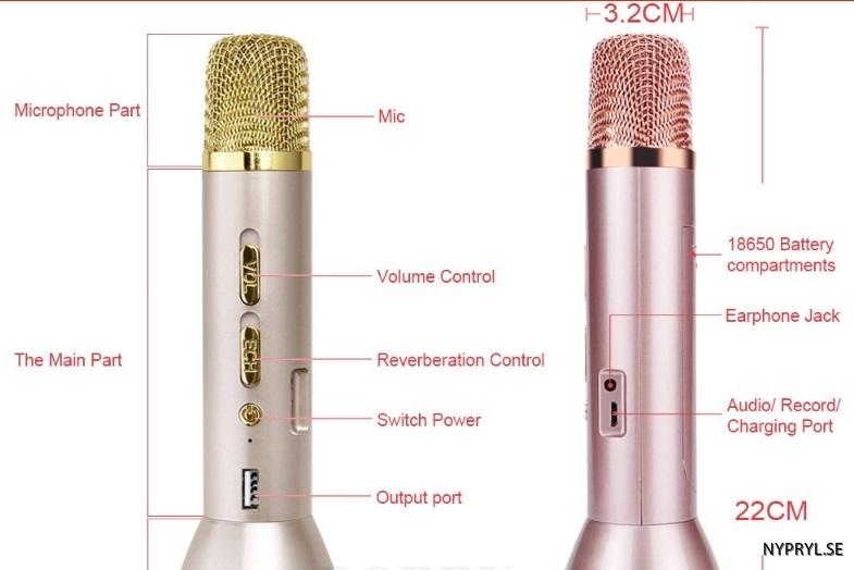 lång batteri tid mikrofon. funktionerjpg