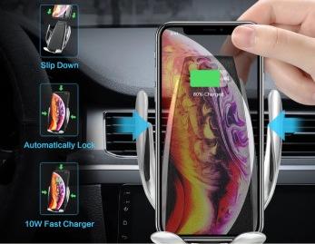 Mobilhållare med automatisk öppning samt stängning & trådlös laddning - Automatisk telefonhållare