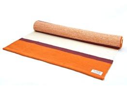 Yogamatta. Handvävd. Bomull. Färg 1-4. Lena´s Hatha Yoga - Yogamatta Orange-vit randig ca 203 cm