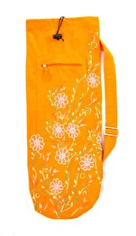 Yogaväska - Lena´s Hatha Yoga - Yogaväska Orange med broderade blommor