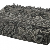 Stor ullpläd Paisley Black and Grey