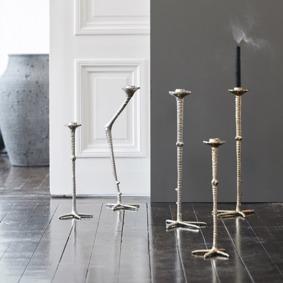 Ljusstake, fågelklo, guld och silver, ON, www.cushbeyond.se