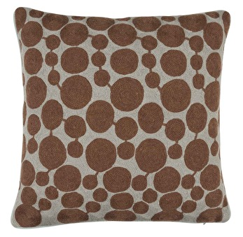 Chamois Embroidery Dots Brown - Chamois Brown Dots
