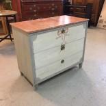 Byrå, 3 lådor, målad marmorskiva