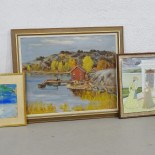 4 st tavlor, varierande konstnär, motiv och teknik