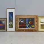 4 st tavlor, foto samt pasteller, oidentifierade konstnärer