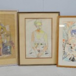 3 st. pasteller, oidentifierade konstnärer