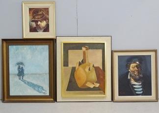 4 st oljemålningar, oidentifierad konstnär