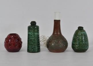 3 st vaser samt bordslampa, keramik