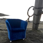 blå duxfåtölj