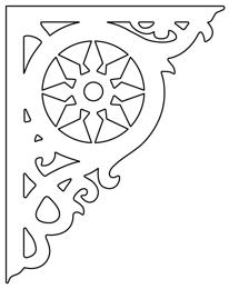 Snickarglädje till ditt hus, här konsol 003 från Gaveldekor. Köp Snickarglädje och dekoration till verandan, farstukvisten, hela huset och villan. Måttanpassade konsoler, staket och räcken med snickar