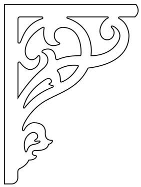 Gaveldekor konsol 009. Köp Snickarglädje och dekoration till verandan, farstukvisten, hela huset och villan. Måttanpassade konsoler, staket och räcken med snickarglädje. Du hittar gammaldags träräcke att köpa, trästaket med detaljer, mönster, ornament, dekoration för huset, snideri, träsnideri och snickarglädje med krusiduller och krumelurer till farstukvist och veranda samt dekor till taket och vindskivorna. Nockdekor och gavelornament. Dekoration till fönster och överliggare med dekorativt fönsterfoder. Prisvärt, svensktillverkat och snabb leverans.