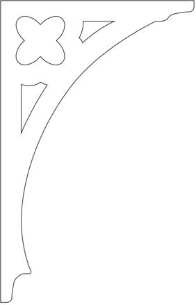 Gaveldekor konsol 031. Köp Snickarglädje och dekoration till verandan, farstukvisten, hela huset och villan. Måttanpassade konsoler, staket och räcken med snickarglädje. Du hittar gammaldags träräcke att köpa, trästaket med detaljer, mönster, ornament, dekoration för huset, snideri, träsnideri och snickarglädje med krusiduller och krumelurer till farstukvist och veranda samt dekor till taket och vindskivorna. Nockdekor och gavelornament. Dekoration till fönster och överliggare med dekorativt fönsterfoder. Prisvärt, svensktillverkat och snabb leverans.