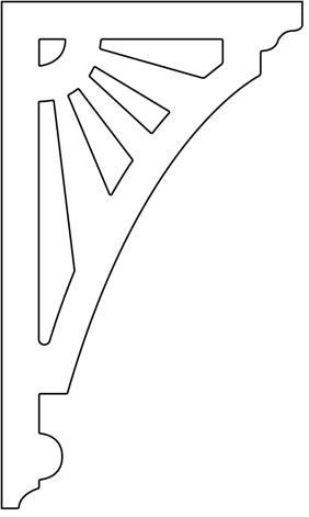 Gaveldekor konsol 060. Köp Snickarglädje och dekoration till verandan, farstukvisten, hela huset och villan. Måttanpassade konsoler, staket och räcken med snickarglädje. Du hittar gammaldags träräcke att köpa, trästaket med detaljer, mönster, ornament, dekoration för huset, snideri, träsnideri och snickarglädje med krusiduller och krumelurer till farstukvist och veranda samt dekor till taket och vindskivorna. Nockdekor och gavelornament. Dekoration till fönster och överliggare med dekorativt fönsterfoder. Prisvärt, svensktillverkat och snabb leverans.