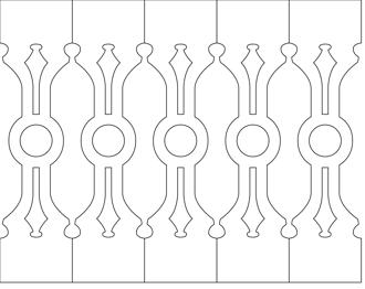 Bilden visar 5 st ribbor tillsammans. Gaveldekor Räcke snickarglädje 001