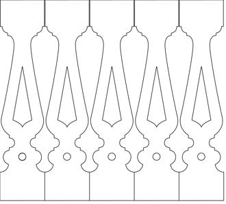 Bilden visar 5 st ribbor tillsammans. Gaveldekor Räcke snickarglädje 003