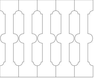 Bilden visar 5 st ribbor tillsammans. Gaveldekor Räcke snickarglädje 004