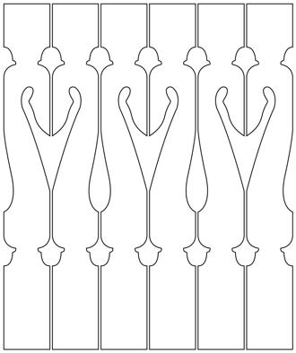Bilden visar 6 st ribbor tillsammans. Gaveldekor Räcke snickarglädje 006