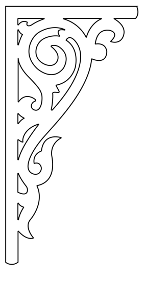 Gaveldekor konsol 021. Köp Snickarglädje och dekoration till verandan, farstukvisten, hela huset och villan. Måttanpassade konsoler, staket och räcken med snickarglädje. Du hittar gammaldags träräcke att köpa, trästaket med detaljer, mönster, ornament, dekoration för huset, snideri, träsnideri och snickarglädje med krusiduller och krumelurer till farstukvist och veranda samt dekor till taket och vindskivorna. Nockdekor och gavelornament. Dekoration till fönster och överliggare med dekorativt fönsterfoder. Prisvärt, svensktillverkat och snabb leverans.