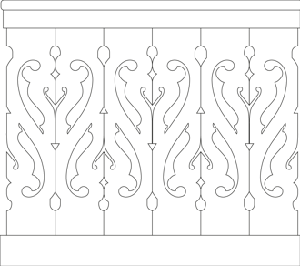Decorative brackets for your porch or veranda from our standard dimensions or order your brackets with your specified dimensions. Brackets, Bracket, House Decoration, House Decorations, Balusters, Gable Decorations, Railings, Banisters, from Sweden, Swedish houses, Gaveldekor, Gingerbread, gingerbread-house - Gaveldekor Räcke snickarglädje 012
