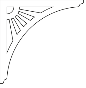Gaveldekor konsol 061. Köp Snickarglädje och dekoration till verandan, farstukvisten, hela huset och villan. Måttanpassade konsoler, staket och räcken med snickarglädje. Du hittar gammaldags träräcke att köpa, trästaket med detaljer, mönster, ornament, dekoration för huset, snideri, träsnideri och snickarglädje med krusiduller och krumelurer till farstukvist och veranda samt dekor till taket och vindskivorna. Nockdekor och gavelornament. Dekoration till fönster och överliggare med dekorativt fönsterfoder. Prisvärt, svensktillverkat och snabb leverans.