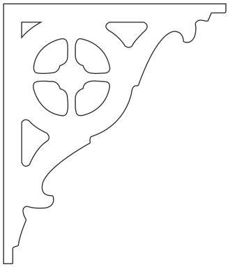 Gaveldekor konsol 097. Köp Snickarglädje och dekoration till verandan, farstukvisten, hela huset och villan. Måttanpassade konsoler, staket och räcken med snickarglädje. Du hittar gammaldags träräcke att köpa, trästaket med detaljer, mönster, ornament, dekoration för huset, snideri, träsnideri och snickarglädje med krusiduller och krumelurer till farstukvist och veranda samt dekor till taket och vindskivorna. Nockdekor och gavelornament. Dekoration till fönster och överliggare med dekorativt fönsterfoder. Prisvärt, svensktillverkat och snabb leverans.