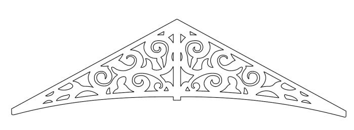 Gavelornament 011 Gaveldekor Snickarglädje. Köp Snickarglädje och dekoration till verandan, farstukvisten, hela huset och villan. Måttanpassade konsoler, staket och räcken med snickarglädje. Du hittar gammaldags träräcke att köpa, trästaket med detaljer, mönster, ornament, dekoration för huset, snideri, träsnideri och snickarglädje med krusiduller och krumelurer till farstukvist och veranda samt dekor till taket och vindskivorna. Nockdekor och gavelornament. Dekoration till fönster och överliggare med dekorativt fönsterfoder. Prisvärt, svensktillverkat och snabb leverans.